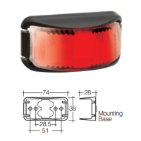 LED Marker Lamp - Model 16 - Red - Rear Only