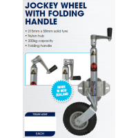 CM Jockey Wheel - Swivel Mount - 216mm Rubber Wheel - Folding Handle